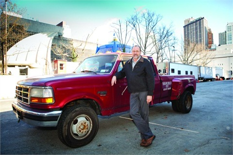 The big Apple Circus' Tom Larson manages a fleet that includes 10 Ford F-350 pickups.
