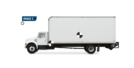 Each component on a truck, including the passenger and cargo, has a center-of-gravity (CG). The centers-of-gravity of the truck chassis is shown at the top of the frame rail at the cab and body and cargo centers-of-gravity are shown with a single symbol at the center of the body about a third of the body height above the floor.