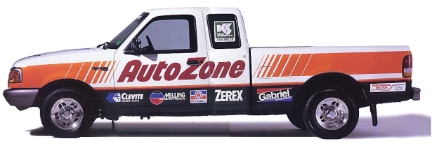 Until 2008, all fleet vehicles were branded with the AutoZone logo.
