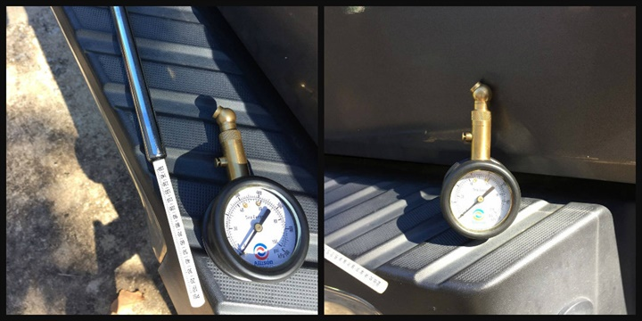 One of the gauges reads to 100 psi (right) while the other gauge reads