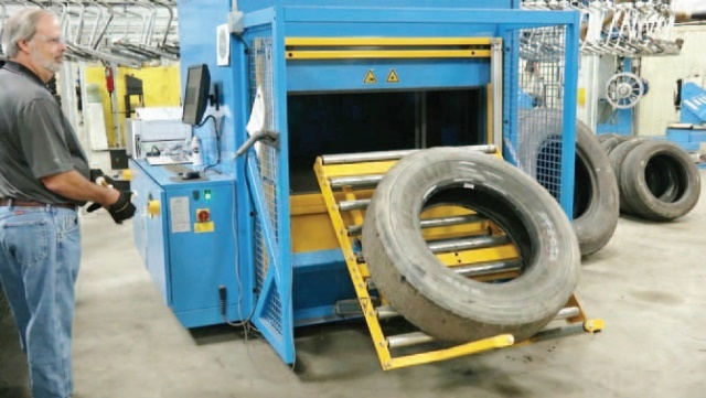 Tire bodies are tested and inspected before they are approved for the