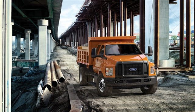 The F-650/F-750 GVWR range starts at 20,500 pounds for the F-650 Pro Loader up to 29,000 pounds for the F-650 straight frame. The F-750 goes from 30,200 pounds to 37,000 pounds, equivalent to Class 8 capabilities. (Photo courtesy of Ford Motor Co.)