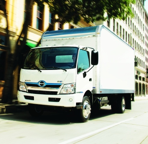 Hino's 2014 195h cabover parallel HEV features the Hybrid Adaptive Control System, which continuously communicates with the Engine Control Unit to evaluate driving and road conditions for increased fuel economy and performance. (PHOTO: HINO TRUCKS)