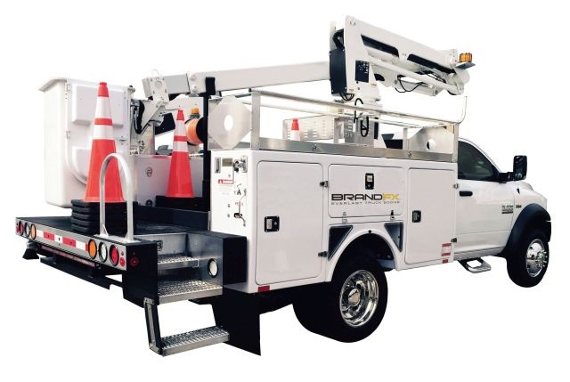 The BrandFX composite aerial body is one solution they provide for aerial trucks used by the telecommunications industry. (Photo: BrandFX)