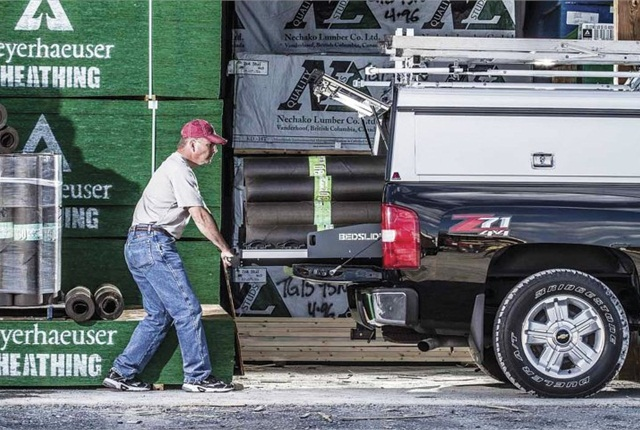 Fleet managers can take advantage of various upfit options, such as a roll out cargo bed (pictured above), to help driver employees safely do their jobs after they get to the job site. (P{HOTO: BEDSLIDE)