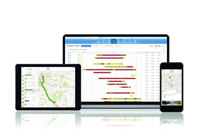 Fleetmatics offers its REVEAL system for light- and medium-duty vehicles as well as vehicle tracking HOS compliance solutions for heavy-duty vehicles. (Image courtesy of Fleetmatics)