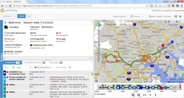 Omnitracs solution covers all truck classes and provides a convenient dashboard to view particular units, exceptions, and more. (Image courtesy of Omnitracs)