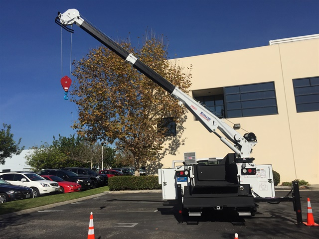 The Stellar 7621 Telescopic Service Crane was mounted on a Stellar service body and constructed by Pomona, Calif.-based Phenix Enterprises. (Photo: Mike Antich)