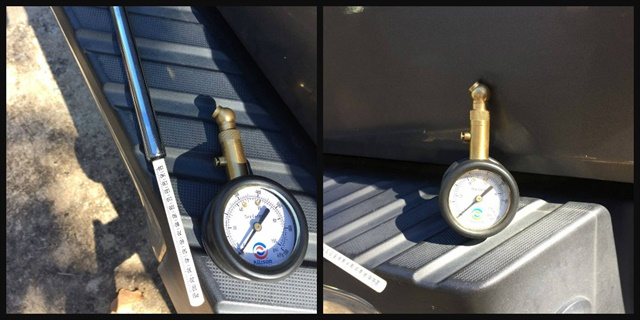 One of the gauges reads to 100 psi (right) while the other gauge reads to 150 psi (left). Make sure that the tire gauges read truck tire pressures and aren't only for passenger car tires, which operate at lower pressures. Photos by Les Smart.