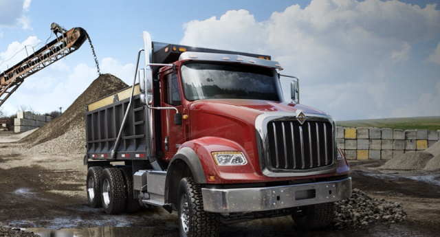 The HX615 with dump body is powered by the Navistar N13 diesel, an inline six-cylinder engine with ratings up to 475 hp and 1,700 lb.-ft. of torque. (PHOTO: International)