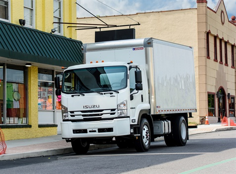 Isuzu's Low Cab Forward (LCF) truck is all-new for the 2018-MY and features a 25,950-pound GVWR and a standard 5.2L four-cylinder diesel engine. (Photo: ICTA)