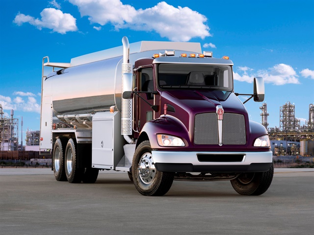 Kenworth's lineup includes a variety of vocational models, including the T370 tanker truck, a Class 7 medium-duty truck with front axles available up to 20,000 pounds. (Photo: Kenworth)
