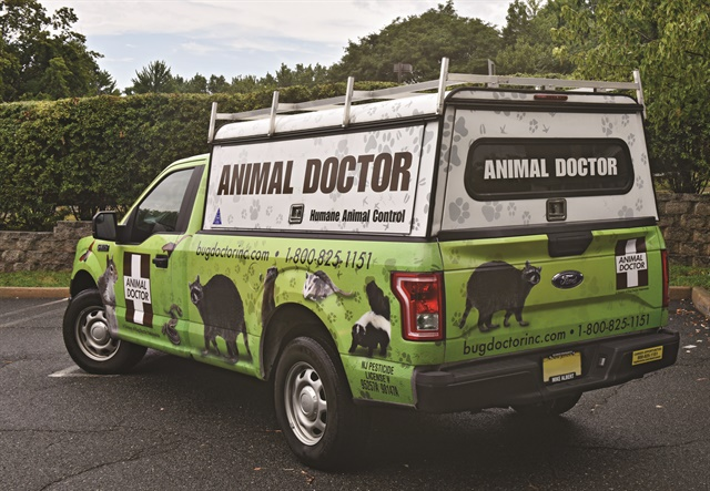 New Jersey-based Bug Doctor Termite & Pest Control wanted to add a vehicle wrap to its Animal Doctor service truck. The new vehicle wrap has gained a lot of attention on the road with its bright green color and animal graphics. Photo courtesy of Bug Doctor.