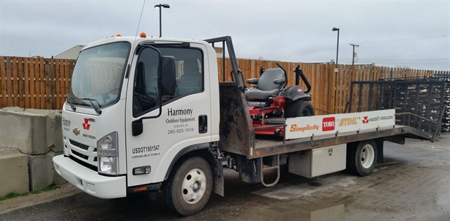 Harmony Outdoor's new Chevrolet Low Cab Forward features a customized flat bed to better transport its power equipment to customers.