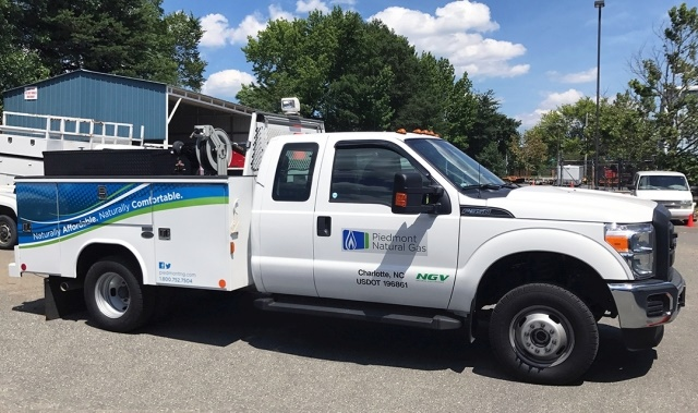Piedmont Natural gas operates a fleet of 1,200 vehicles with around 80% featuring an upfit, such as the service body pictured below. (Photo courtesy of Piedmont Natural Gas)