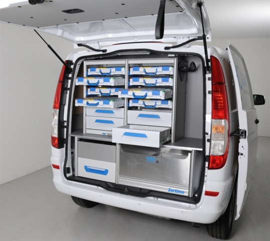 With a pullout platform at the bottom of the van, drawers and Boxxes can be placed on top for parts and tool storage. (Photo: Sortimo)
