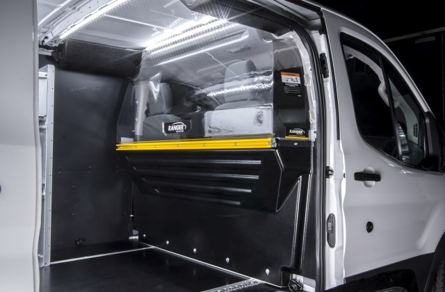 Safety partitions inside a van can help keep cargo secure in the back of the vehicle, and prevent it from coming into the driver compartment during an incident. (Photo courtesy of Ranger Design)