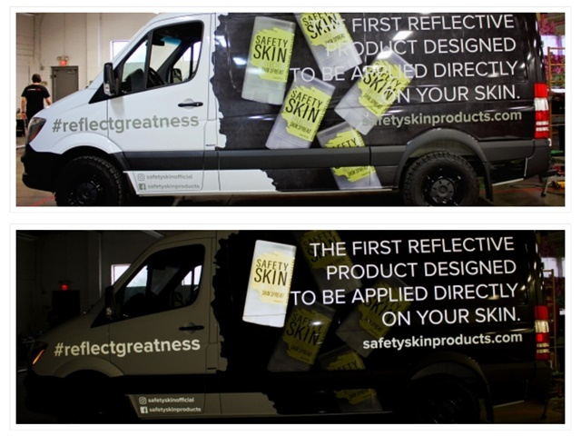 Reflective graphics greatly increase visibility in the dark, and are most effective for fleets that operate at night. (Photo courtesy of Visual Marking Systems)