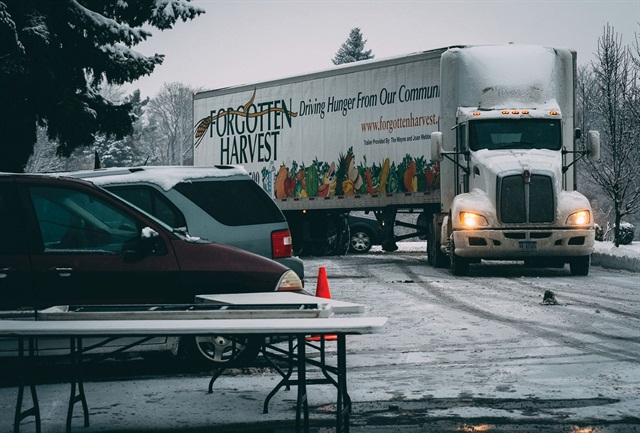Forgotten Harvest's semi-trucks help transport food for its mobile pantry program. It allows recipients to select food in a farmer's market setting.