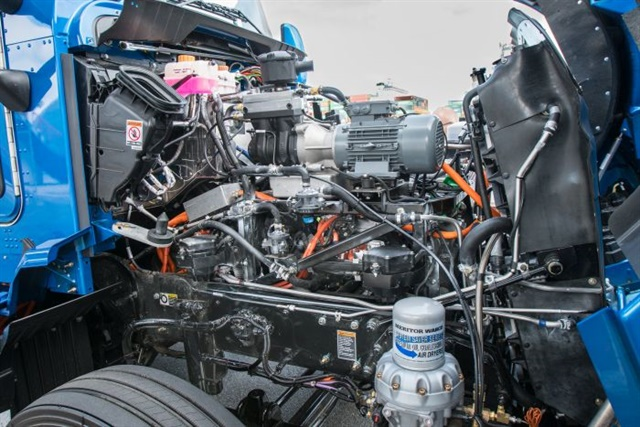 Under the hood, where the diesel engine usually goes, is the control system for Toyota's electric drivetrain, powered by a stack of H2 fuel cells. Photo: Toyota