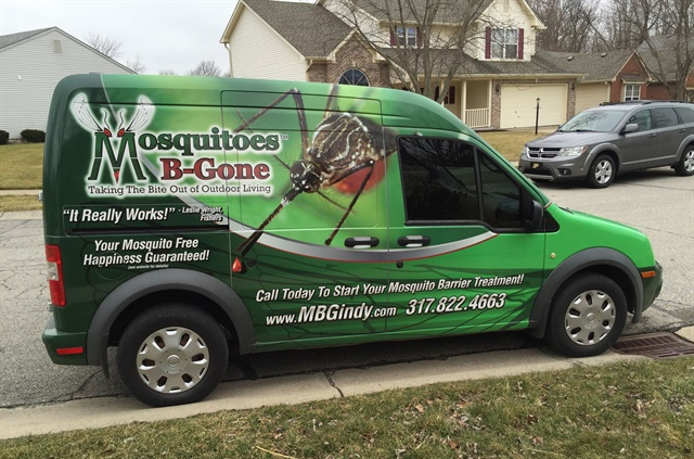 Mosquitoes B-Gone's vehicle wrap includes bright colors, mosquito graphics, and text such as its slogan, website, and phone number. Photo courtesy of Mosquitoes B-Gone.