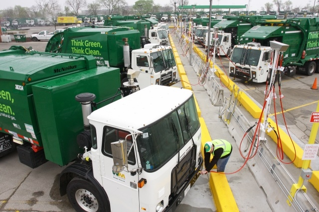 Image of refuse truck fleet courtesy of Waste Management.