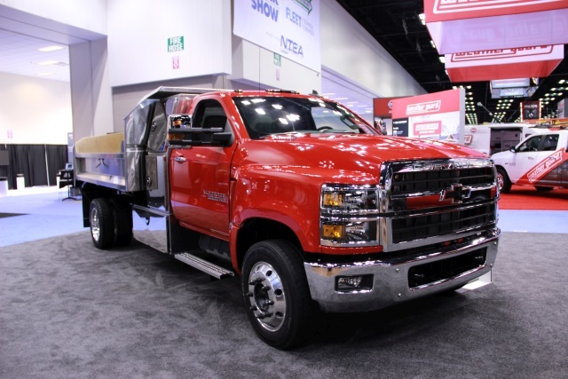 General Motors unveiled its medium-duty lineup, surprising attendees with its Class 6 Silverado 6500HD. (Photo by Lauren Fletcher)