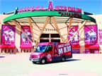 The new fan favorite at Angels Stadium is the KLAA 830 AM Isuzu Reach. The vehicle with its eye-catching graphics supports station events.