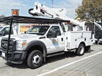 As part of its greener fleet purchases, the City of Glendale, Calif., replaced a larger diesel chassis with a smaller, gasoline-powered Ford F-550. The fleet plans to equip its next aerial trucks with a battery pack for the boom so operators won't need to run the truck's engine while the boom is in use.