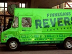 Emptying the truck of all interior storage helped allow more room for food. An awning was added, as well as a window to accept donations and a metal table was installed for anyone working the donation window. (PHOTO: FINNEGANS REVERSE FOOD TRUCK)