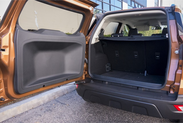 The EcoSport offers 21 cubic feet behind the rear seats accessible by a side-hinged cargo door. Photo by Vince Taroc.