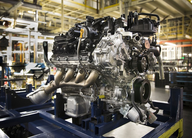 The Endurance V-8 gasoline engine proudces 390 hp and 401 lb.-ft. of torque. It is produced at the Nissan Decherd Powertrain Plant. Photo: Nissan