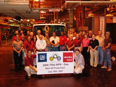 GM/Isuzu Launch Team with first 2008 gas-powered, low cab forward truck at GM's assembly plant in Janesville, Wis.