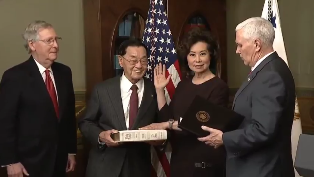 Elaine Chao being sworn in as secretary of transportation by Vice