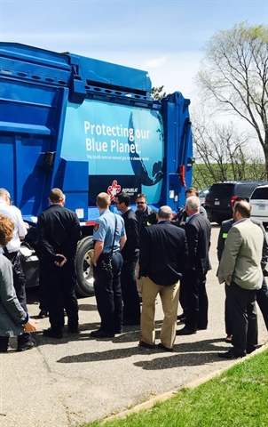 Event guests took a tour of the new CNG trucks. (Photo courtesy of