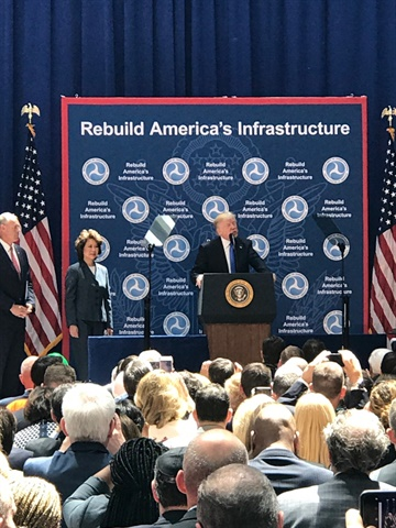 President Trump making remarks at U.S. DOT headquarters on June 9,