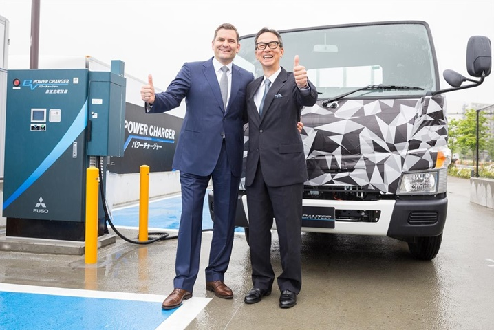 "The ""FUSO EV power charger"" consists of eight chargers in"