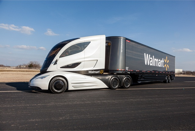 The Walmart Advanced Vehicle Experience is the result of a partnership between many vendor partners. This prototype combines aerodynamics, mictroturbine-hybrid powertrain, electrification, advanced control systems, and cutting edge materials like carbon fiber all in one vehicle.  (PHOTO: WALMART)