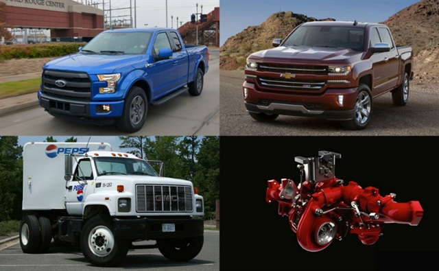 Clockwise (l-r) Ford introduced its heavy payload F-150 to commercial users, the Chevrolet Silverado received a facelift for MY-2016, Cummins debuted a two-stage turbocharger on the Nissan Titan XD, and GM and Navistar announced they'd be collaborating on Class 4/5 trucks.