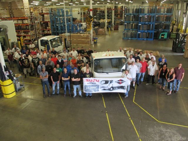 the 30,000th gasoline-powered Isuzu N-Series truck has been produced at the Spartan Motors, Inc. facility in Charlotte, Mich. The truck rolled off the line on Friday, June 10, 2016. (PHOTO: Isuzu Commercial Truck of America)