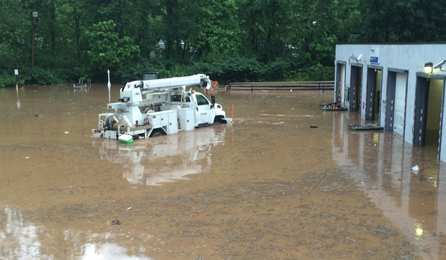 Mon Power's old service center was flooded with five feet of water in June 2016. Photo via Flickr/FirstEnergy Corp.