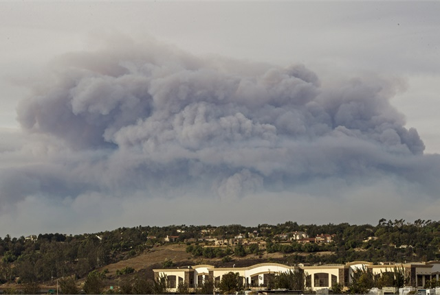 Photo of smoke from the Thomas Fire in Ventura County, Calif., via California National Guard/Flickr