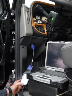 Researchers demonstrated that a truck in motion could be partially controlled through a laptop plugged into the OBD port. Photo by Jim Park
