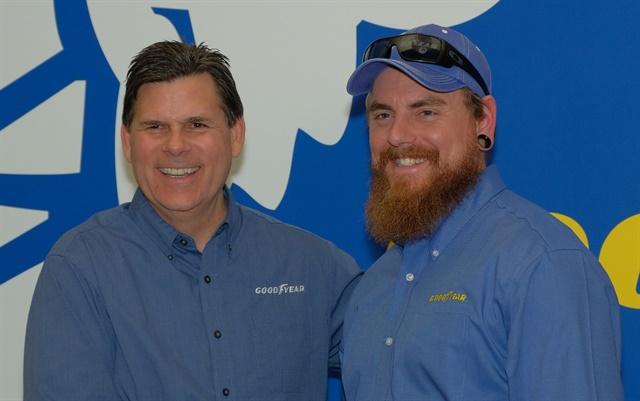 Gary Medalis (left), Goodyear marketing director, with finalist Ryan Moody of Tacoma, Washington. Photo: Jim Park