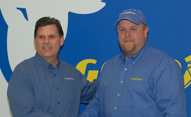 Gary Medalis (left), Goodyear marketing director, with Brian Bucenell of Richmond, Virginia, a finalist for the 2018 Highway Hero award. Photo: Jim Park