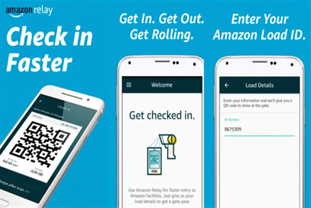 A new Amazon app called Relay allows drivers enter cargo information, allowing them to check in with a QR code and get through the security gate. Photo: Amazon
