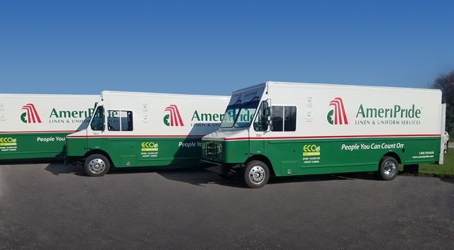 Photo of AmeriPride fleet pf Ford F-59 hybrid-electric vehicles courtesy of XL Hybrids.