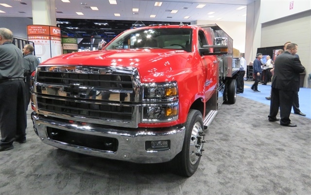 The Class 6 Chevy Silverado 6500HD chassis cab is powered by a standard Duramax 6.6L turbo-diesel engine (the only engine available on the Silverado) mated to a choice of Allison transmissions. The trucks will put out 350 hp at 700 lb.-ft. of torque. Photo: David Cullen