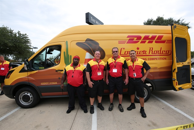 Photo of participants in DHL's Safe-Driving Rodeo competition courtesy of DHL.