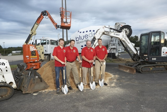 Stefan Pies, Henning O. Bruns, Bob Riley, and Joel Demelza break ground on a new logistics center at the Cleveland, N.C. Truck Plant. (Photo courtesy of DTNA)